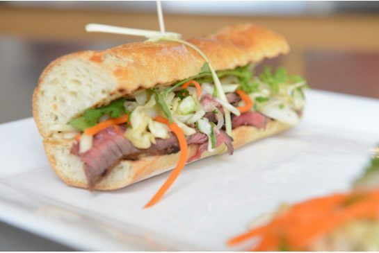 Thuy Nugyen Crawford's Canadianized banh mi involves grilled steak and an Ace Bakery baguette.