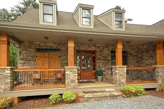 Front Porch Wood And Stone Columns