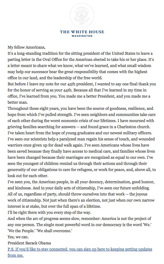 President Obama pens a final goodbye letter to his fellow - goodbye letter