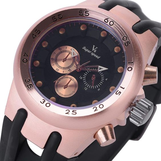 $11.99 (Buy here: http://appdeal.ru/9lq0 ) Top Brand Fashion V6 Men Sport Quartz Watches Steel Thick Steampunk Rose Gold Case Deco Sub-Dials Rubber Band Wristwatch Gift for just $11.99