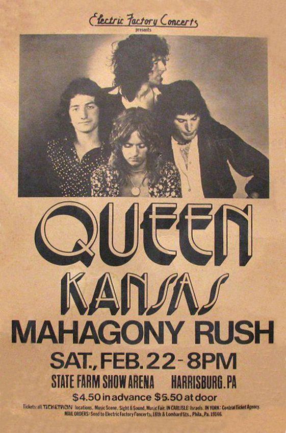 Queen 1974 Harrisburg In 2020 Vintage Concert Posters Music Poster Concert Posters