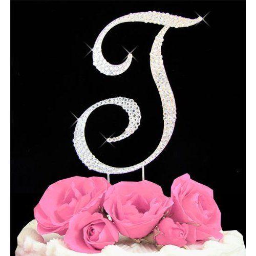 All Over Swarovski Rhinestone Initial Large Wedding Cake Topper