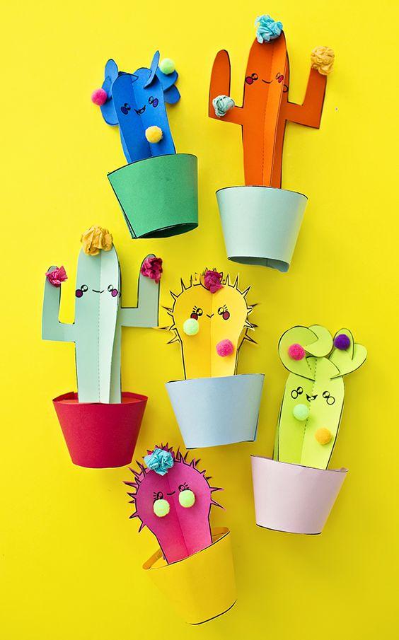 Cactus crafts for kids: Paper Cactus Plants DIY at Hello, Wonderful