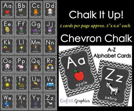 Alphabet Cards Chalkboard Chevron Word Wall by ConfettiGraphics