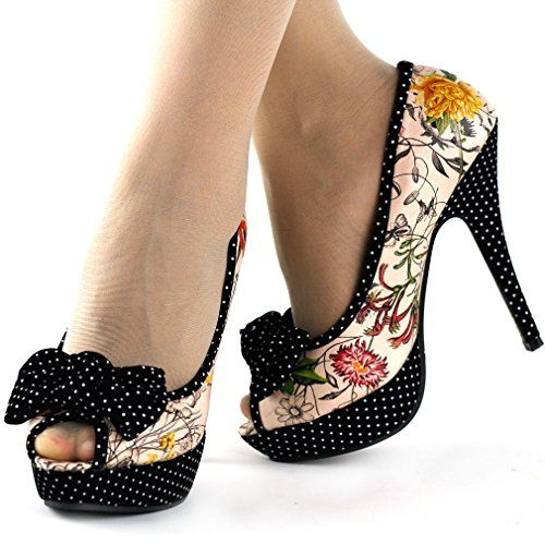 Show Story Beige/Hot Pink Bow Multicoloured Floral Polka Dot Party Pumps,LF30458 List Price: $79.99 Buy Now: $33.99
