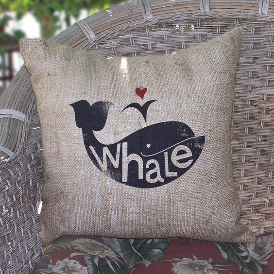 Whale Burlap Pillow ($68)