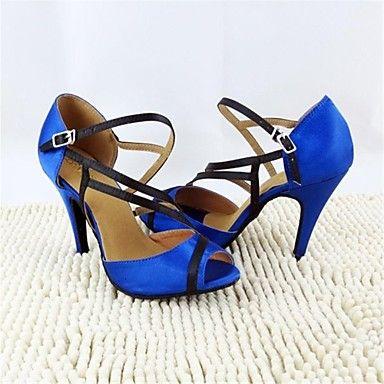 satén buckie superior del salón de baile latino zapatos de las sandalias de las mujeres - EUR € 34.99