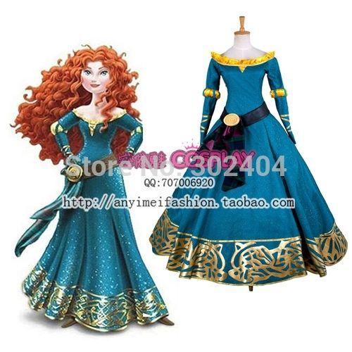 nieuwe aankomst luxe vrouwen kostuum dappere merida prinses jurk volwassen kostuums halloween kostuum(China (Mainland))