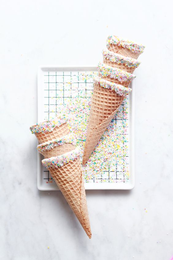 Cones are even better when they're dipped in sprinkles.