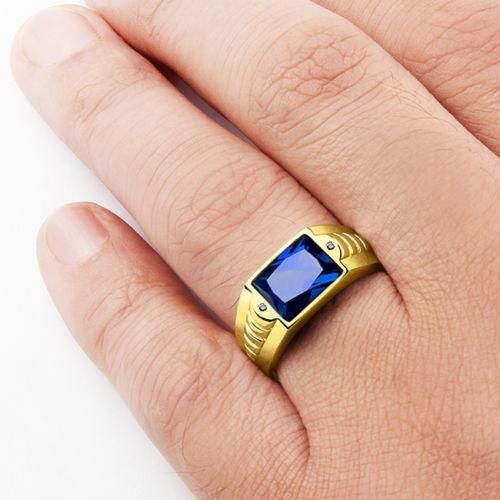 Blue Sapphire Mens Ring In Real 10k Yellow Gold With Genuine Diamonds Mens Sapphire Ring Rings For Men Blue Sapphire Rings