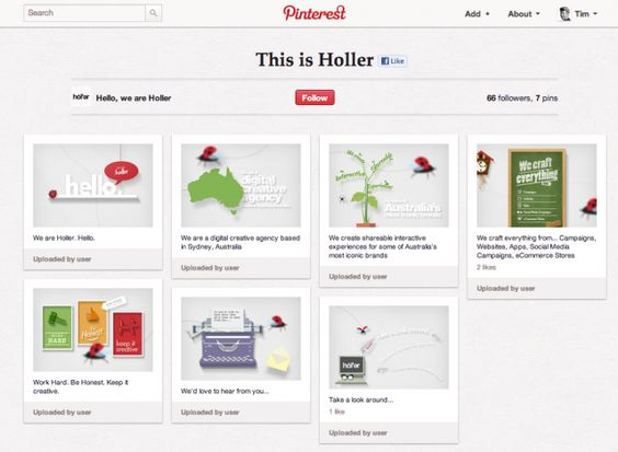 Holler Sydney has made an innovative move by putting their main agency site on Pinterest.
