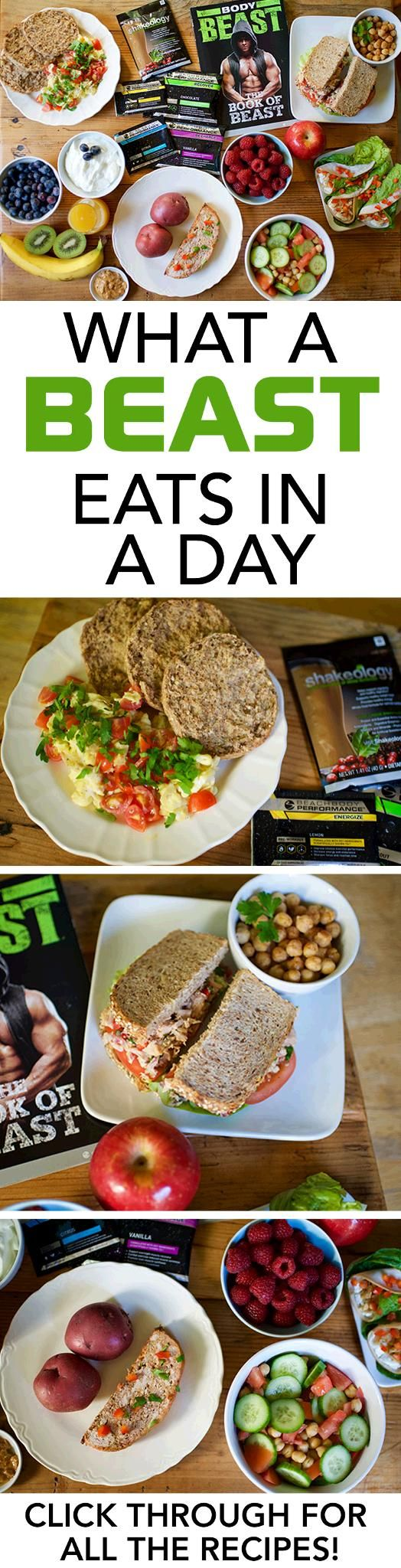 You might know what it takes to train like a Beast, but do you know how to eat like a Beast? Click through to see what a sample day of meals looks like during the bulk phase of Body Beast. // recipes // nutrition // fit fam // muscle building // gains // meal prep // beachbody // beachbody blog