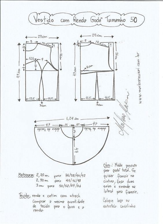 Esquema de modelagem de vestido com renda tamanho 50.