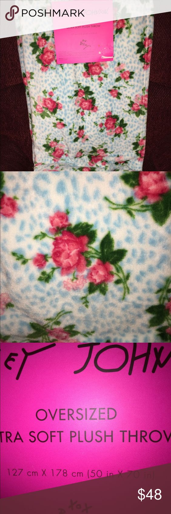 New Betsey Johnson ultra soft plush throw/blanket New Betsey Johnson throw/blanket. Super soft! White and light blue cheetah background with pink roses. Betsey Johnson Other