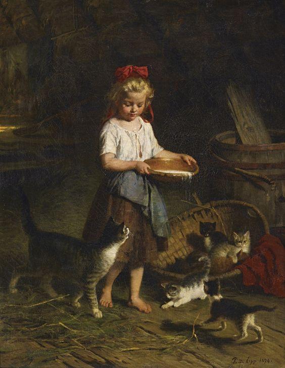 Rudolf Epp (1834-1910) –– Girl  Feeding Cats  (1007×1300):
