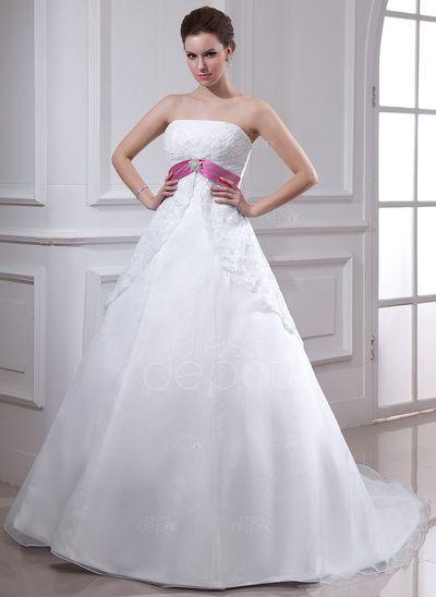 Empire Strapless Chapel Train Organza Satin Wedding Dress With Lace Sash Crystal Brooch (002000129) http://www.dressdepot.com/Empire-Strapless-Chapel-Train-Organza-Satin-Wedding-Dress-With-Lace-Sash-Crystal-Brooch-002000129-g129 Wedding Dress Wedding Dresses #WeddingDress #WeddingDresses