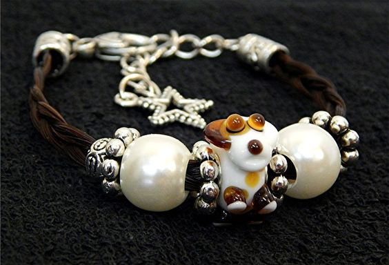 Cute Brown & White Murano Glass Dog on Braided Horse Hair Bracelet made in USA