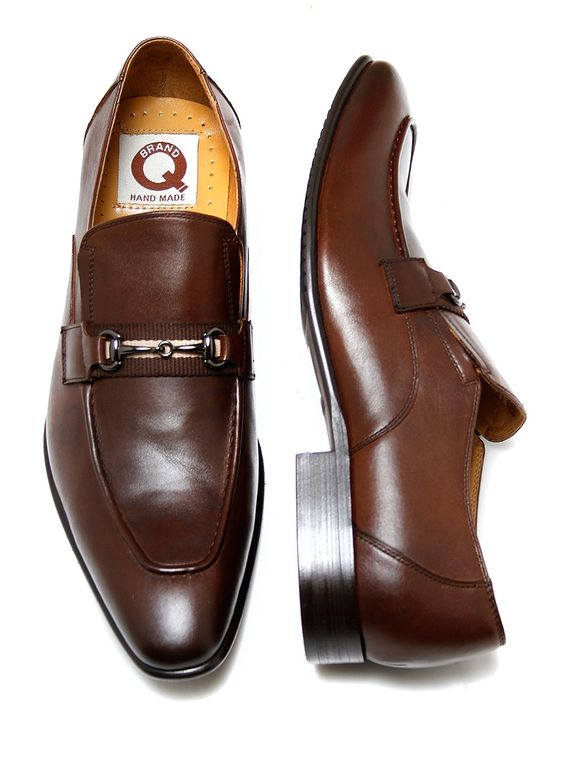Brand Q Men's Brown Slip-On Shoes Gucci Style Shoes with Metal Buckle - Q576