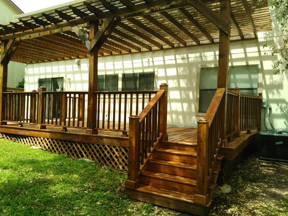 Beautiful back porch and pergola! We enjoyed this job and the results were great! #outdoors, #handymsntx, #porch