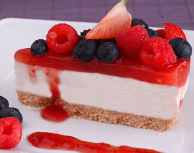 easy to prepare, refreshing and tasty. a good substitute for ice cream. the  yogurt cake, with strawberry and berries jelly