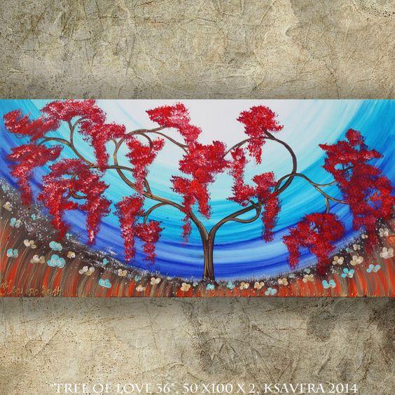 LIEBESBAUM Bild SAKURA Originales Florales Gemälde von KsaveraART