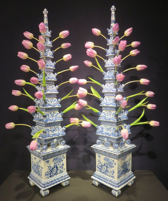 """""""Monumental 17th Century Delft Pyramidal Tulipieres, the largest pair of Delft…:"""