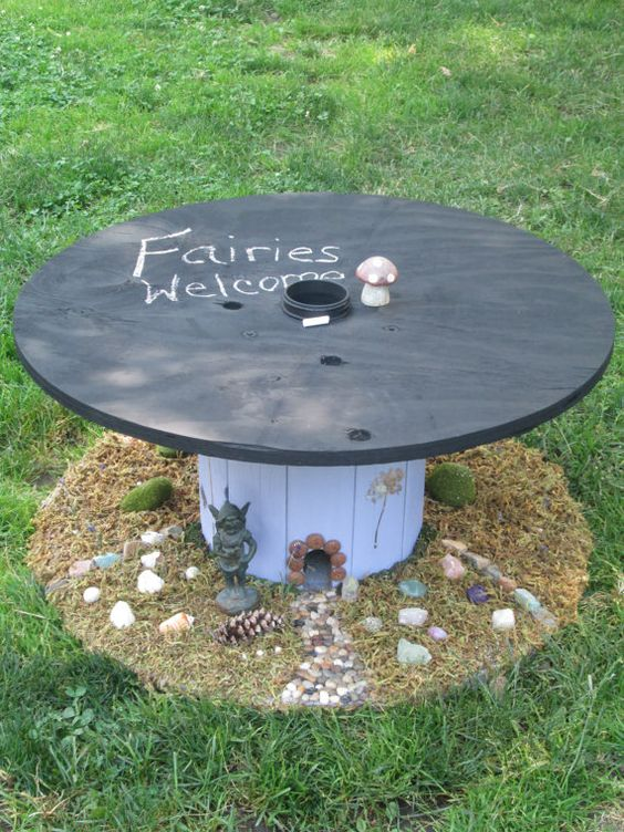 Upcycled cable spool custom chalkboard top by for Small wire spool ideas