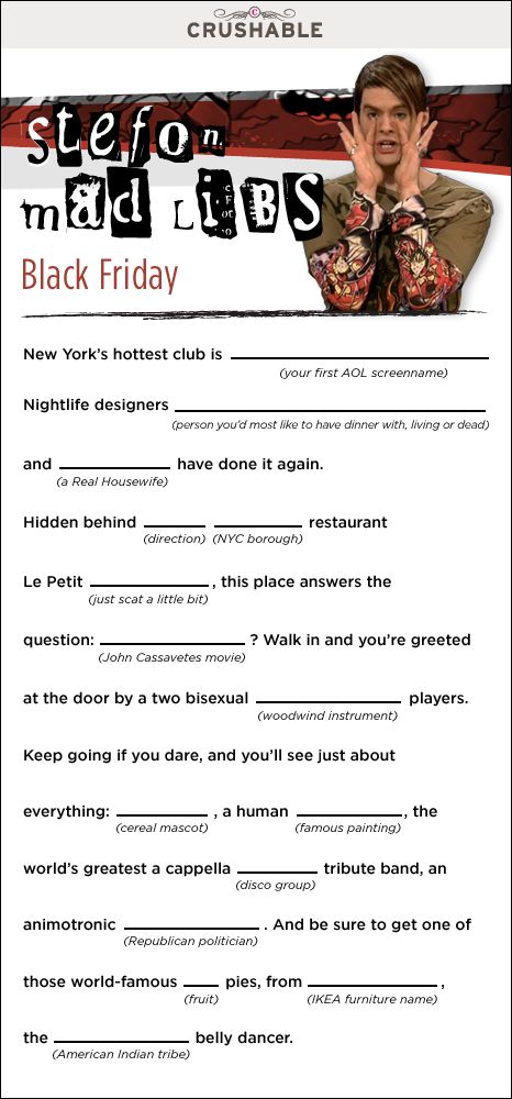 Stefon Mad Libs! I needed this today!