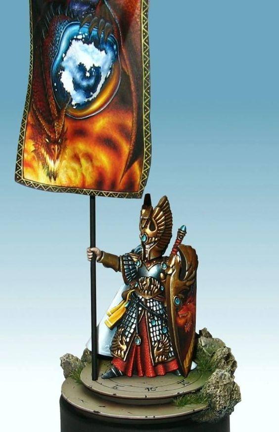 Warhammer FB   High Elves   High Elf Noble BSB Freehand by LAN Studio #warhammer #ageofsigmar #sigmar #wh #whfb #gw #gamesworkshop #wellofeternity #miniatures #wargaming #hobby #fantasy