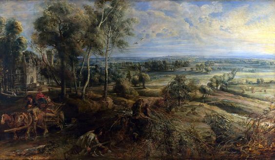 Peter Paul Rubens - Vista de Het Steen al amanecer (1636). Barroco. Óleo sobre tabla de 131,2 x 229,2 cm. The National Gallery (Londres), U.K.