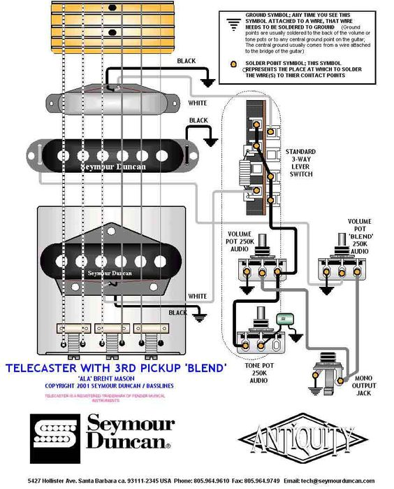 tele wiring diagram with 3rd pickup telecaster build pinterest. Black Bedroom Furniture Sets. Home Design Ideas