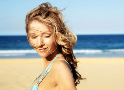 Beach curls with a new relaxed perm.