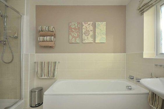 Photo of beige cream white bathroom family bathroom - Lavender and white bathroom ...
