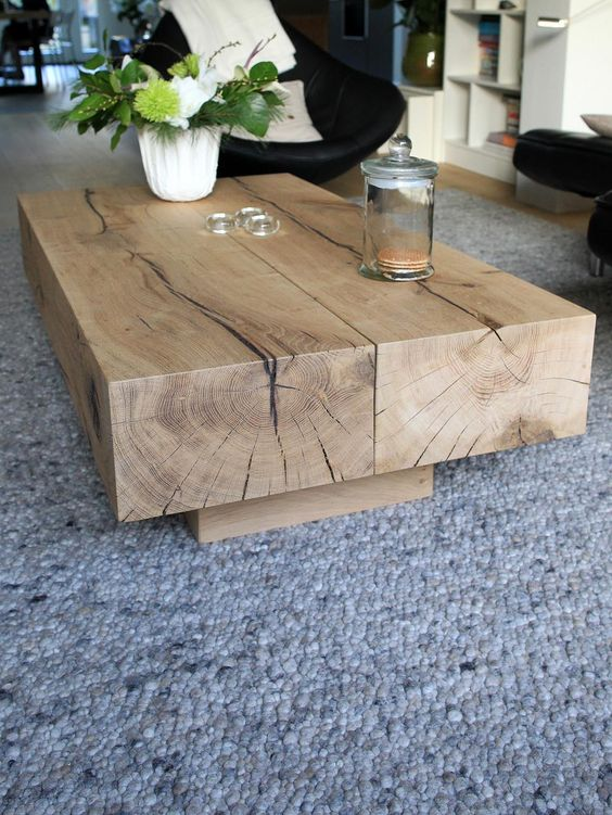 Oak beam coffee table: