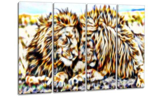 Groupon Goods: Soul Mates Lion Metal Wall Art 48x28 4 Panels