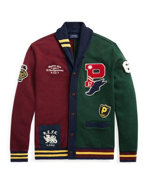 Polo Ralph Lauren Men Retro Stadium Patchwork Baseball Varsity Fleece Jacket XL