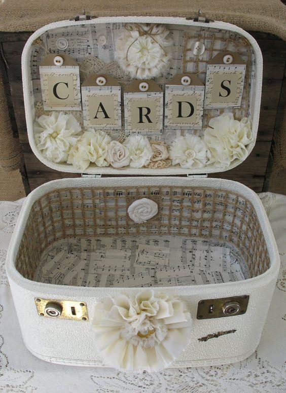 Tipi wedding inspiration loved by beautifulworldtents.co.uk - Vintage Suitcase Wedding Card Box