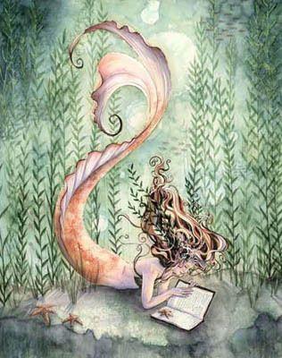 Reading mermaid cross stitch