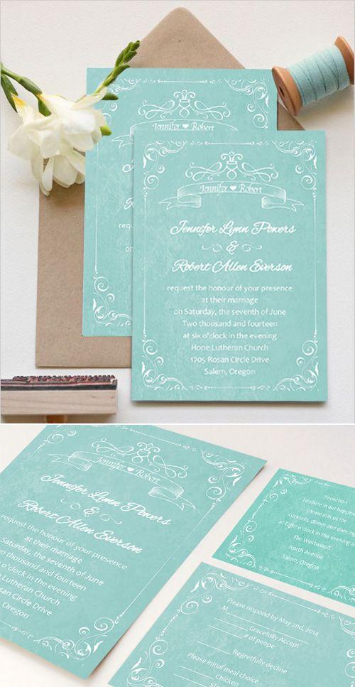 teal colored affordable custom vintage wedding invitations