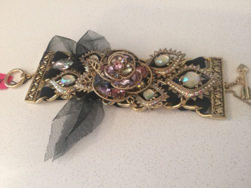 NWT-Betsey-Johnson-large-pink-flower-rose-black-tulle-chain-crystal-bracelet
