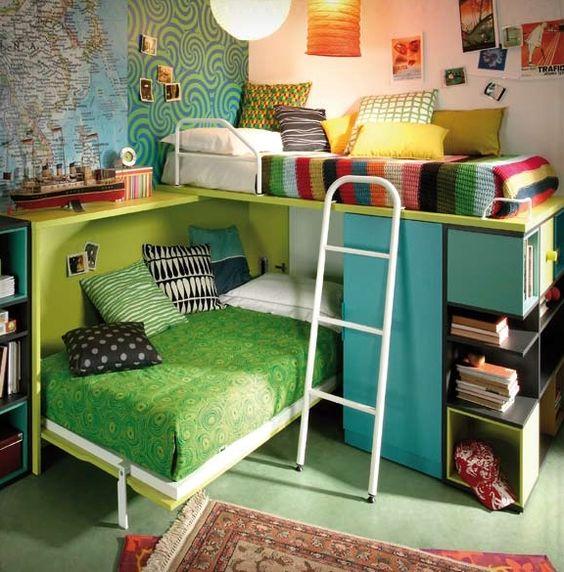 Kids room 3 cama alta sobre cama plegable con patas y - Muebles con cama plegable ...