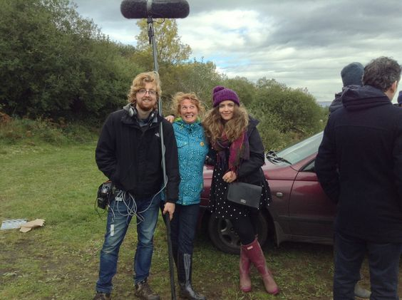 Filming Seamus Scanlon's The Long Wet Grass, on location in County Mayo, Ireland.  Mayo crew of The Long Wet Grass shoot in Foxford. (L to R) Fintan Geraghty (Castlebar), Emer Gannon (Westport and all over the world) and Maria Gillan (Westport)