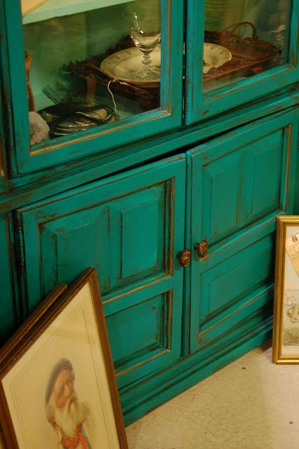 """Benjamin Moore - Aruba Blue. love this cabinet in this gorgeous color!    Cool idea for the front door!    """"So, after some serious contemplation (I gave it at least 24 hours), I was off to the paint store for some Sherwin Williams #6941 Nifty Turquoise."""""""