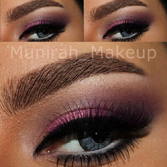 """Get this beautiful smokey pink inspired eyes by ✨@munirah_makeup✨  STEPS⬇️ - Lenses are from the ones she sells - MUFE aqua brow gel in #20 - Eyeshadows are:  1. Rice paper from MAC on brow bone 2. Bitten from MUG in crease 3. Ingolt #428 in outer corner 4. Inglot #48 and archie's eyeshadow quad in caramel Sunday 'Mac' in the crease 5. Glitter from Inglot #65 6. Gel liner from Inglot #77 7. Redcherry lashes stacked """"re used them so don't remember the number"""" 8. They're real Mascara from…"""