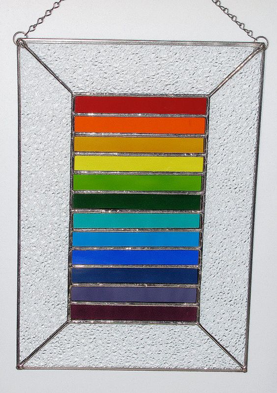 Stained Glass Panel Spectrum of Color Rainbow Colors by GLASSbits, $54.00