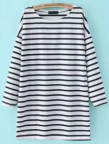 Dropped Shoulder Seam Striped Tshirt Dress