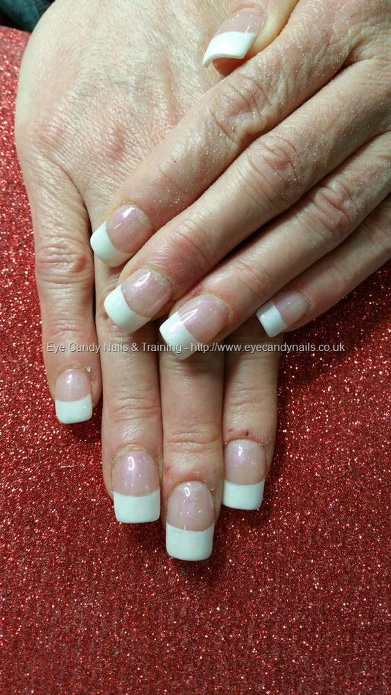 Acrylic nails with white french gel polish
