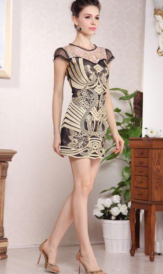 Black and Gold Silk Short Sleeve A-line Dress - Sheinside.com #SheInside