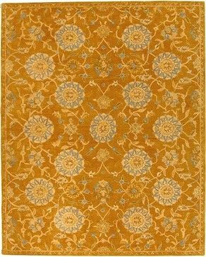 Love the saturated gold color as the foundation in this rug. Only comes in 6'round unfortunately but this would be beautiful under table...