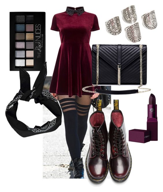 """Yummy yummy burgundyy"" by p0llyinurpocket ❤ liked on Polyvore featuring Lipstick Queen, Miss Selfridge, JFR, Maybelline, Boohoo and Dr. Martens"